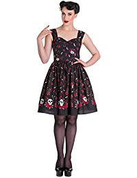 Hell Bunny ACONITE Skulls Bats Floral Gipsy Dress / Kleid Rockabilly
