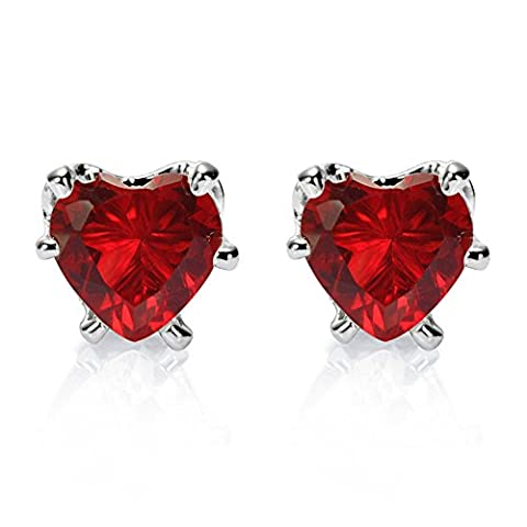 Rizilia Jewellery Heart Cut 5mm Red Ruby Color Gemstones Fine CZ 18K White gold Plated Stud Earrings Simple Modern Elegance [Free Jewelry Pouch]