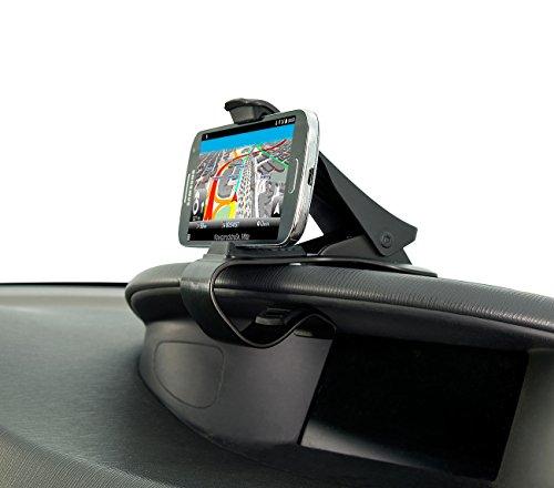 Lescars Navi Halterung: Universelle Smartphone-Clip-Halterung fürs Armaturenbrett, bis 9 cm (Kfz Klemmhalterung)