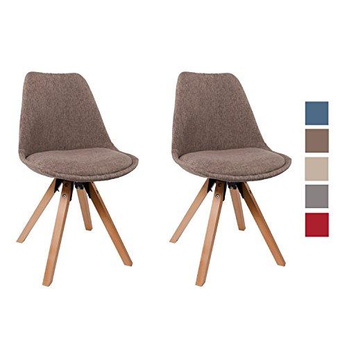 Stuhl Esszimmerstühle Braun Küchenstühle !2 er Set! FARBAUSWAHL mit Holzbeinen Sitzkissen Esszimmerstuhl RETRO Stoffbezug TYP9-518EM (Esszimmerstuhl Gepolstert)