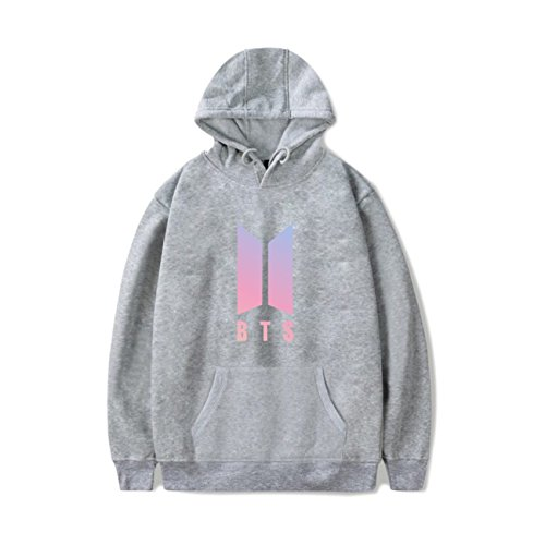 SIMYJOY Amants Love Yourself Her Sweats à capuche KPOP BTS Pulls Sweat Collège Hip Hop Sweat Shirt Pour Hommes Femmes Adolescents Gris