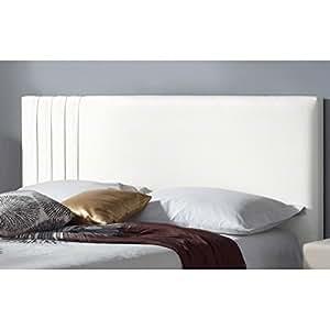 Tête de lit similicuir Lines - Couleur - Blanc, Mesure - Lit de 140 cm de large