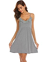 c8d4656a9a ADOME Womens Chemise Nightwear Spaghetti Straps Nightdress Slip Nightgown  Sleepwear Ruched Dress