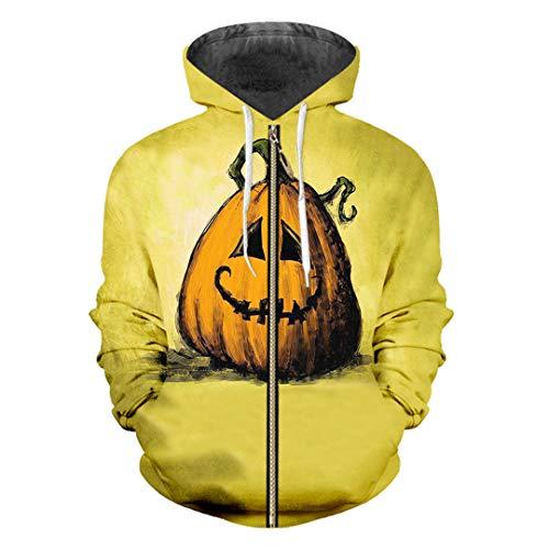hluss 3D gedruckt Halloween Kürbis und Camouflage Skull Zip Hoodies Gray XXL ()