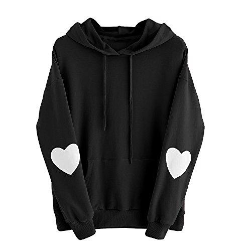 Frauen Langarm Herz Hoodie Sweatshirt Pullover mit Kapuze Pullover Tops Bluse MYMYG Übergröße Tops Rundhals Langarm Hoodies (Schwarz,EU:42/CN-2XL)