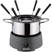 Severin FO 9237 - Fondue, 800 W, 1.25 L, 6 tenedores, regulador de temperatura, acero inoxidable, color gris oscuro