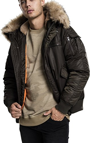 Urban Classics Herren Jacke Hooded Heavy Fake Fur Bomber Jacket, Grün (Darkolive 551), X-Large