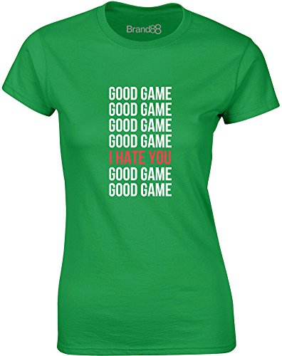 Brand88 - Good Game, Gedruckt Frauen T-Shirt Grün/Weiß