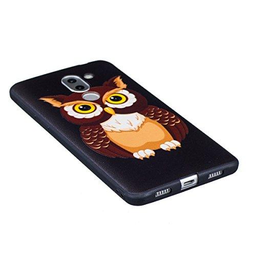 Huawei Honor 6X Custodia, Cover Huawei Honor 6X, JAWSEU Huawei Honor 6X Protectiva Bumper Bella Ultra Sottile 3D Sollievo Modello Silicone Custodia Cover Protezione Antiurto Liscio Flessibile Gomma Ge Gufo