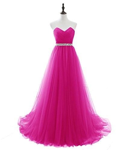 LuckyShe Elegant Lang Tuell Abendkleider Ballkleider Promkleider Partykleider Rose