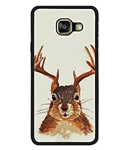 Printvisa Designer Back Case Cover for Samsung Galaxy A3 (6) 2016 :: Samsung Galaxy A3 2016 Duos :: Samsung Galaxy A3 2016 A310F A310M A310Y :: Samsung Galaxy A3 A310 2016 Edition (Painting of Bunny Deer Horns Stag )