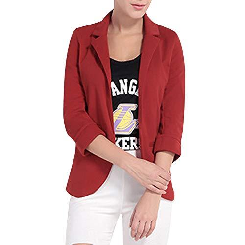 MORCHAN Costume de Couleur Bonbon pour Femme à Manches Trois-Quarts et à Manches Courtes Ponte roulé Blazer(Medium,Vin Rouge)