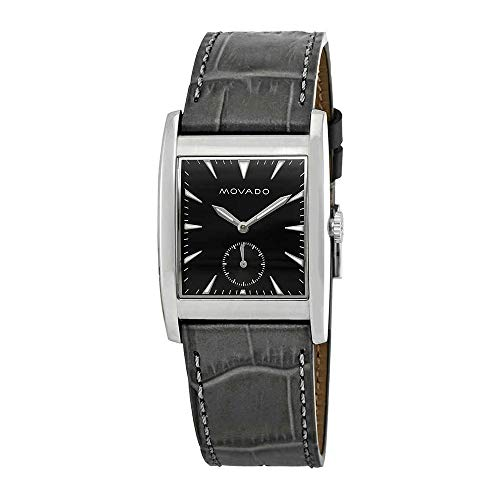 Movado Men's Heritage Black Leather Band Steel Case Swiss Quartz Watch 3650048