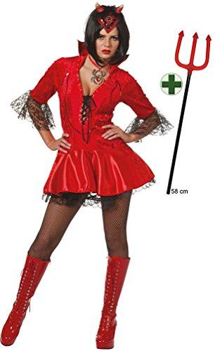 Karneval-Klamotten Teufel Kostüm Damen INKL. Teufelsgabel Sexy Teufelin Halloween Teufelskostüm Teufel Damen-Kostüm 34