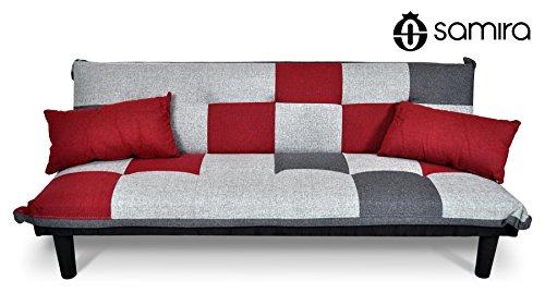 Divano letto clic clac in tessuto grigio scuro - rosso - grigio chiaro - divanetto mod. russell