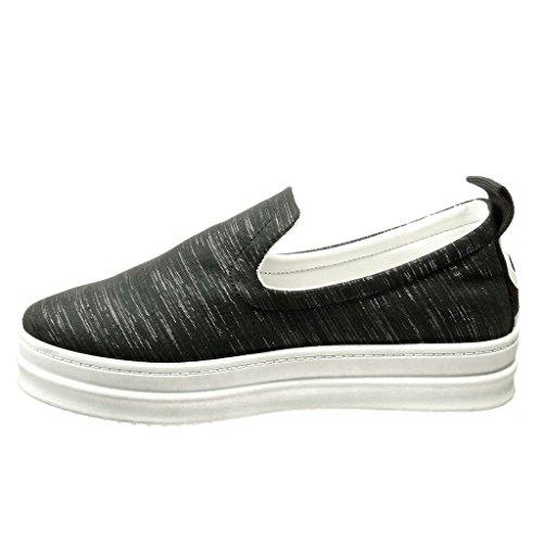 Angkorly - Chaussures Mode Sneaker Wedges Slip-on Femme Bandes Heel Coin Plate-forme 5 Cm Noir