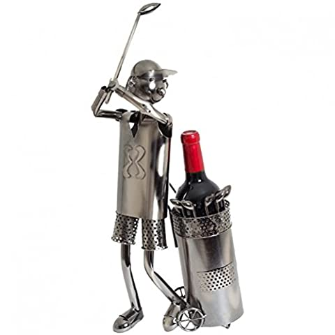 Metal Wine Holder Bottle Stand Kitchen Table Décor Novelty Hand Crafted Golfer