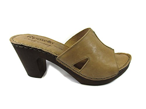 RIPOSELLA ZOCCOLO IN PELLE - MADE IN ITALY 37, Taupe MainApps