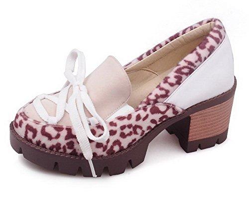 Senhoras Voguezone009 Puxar Zeheblend-primas Bombas Mista Cor Creme Sapatos