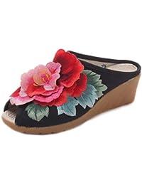 MUCHAO Mujeres Flor Zapatillas Bordadas Punta Abierta Sandalias Zapatos de cuña Retro Color sólido Zapatillas