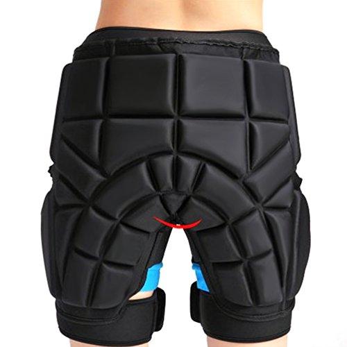 NuoYo 3D Gepolsterte Shorts,Erwachsene Kinder Protektoren Hose Short Schutzhose mit HIP für Snowboard Ski,Schützen Sie die Hüften,Geringes Gewicht,Schwarz (M)