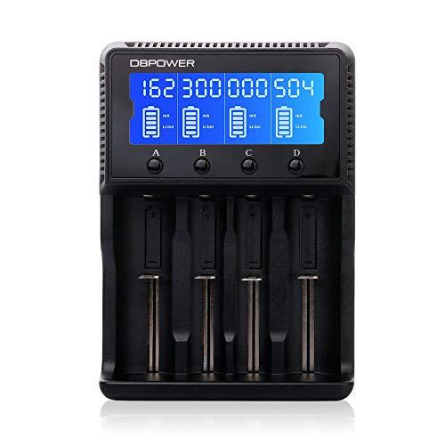 DBPOWER HXY-H4 Batterieladegerät Akku Ladegerät Universal LCD-Display 4 Schacht Plug Ladestation für Batterien Li-Ionen/26650/18650/18490/17335/16340/10440 / LiFePO4