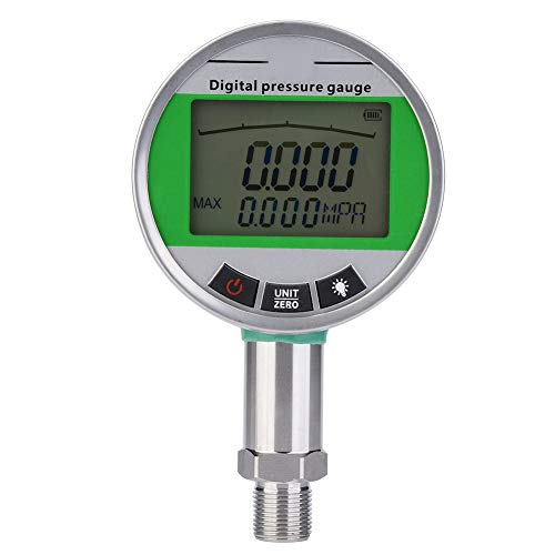 Aufee Digitales Manometer, 0-1.6MPA Hydraulisches Manometer, Edelstahl mit Hintergrundbeleuchtung für LCD-Bildschirm