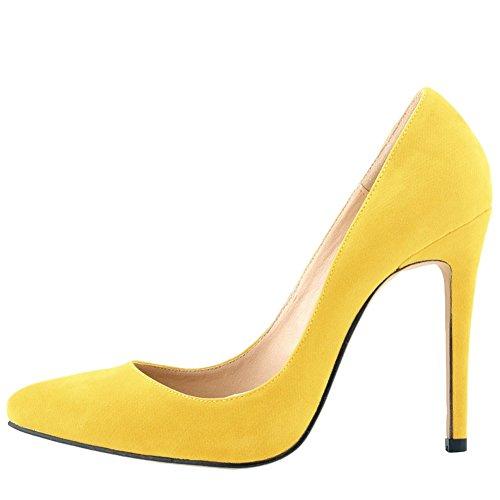 OCHENTA Mujer EN Muchos Colores Zapatos de Tacon de Terciopelo de Un Banquete de Boda Amarillo 37
