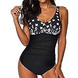 QingJiu Frauen Siamese Bikini Set Push-Up StripeSwimwear Beachwear Badeanzug (Schwarz, XXX-Large)