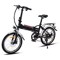 SummerRio VTT Electrique Pliable Adulte 250 W à 7 Vitesses, Vélo Electrique Pliant E-bike Vélo de Montagne Electrique Femme Homme 20 Pouces - Batterie au Li-ion 36V - Phare à LED - Max Vitesse 35 km/h (EU Stock) (Noir)