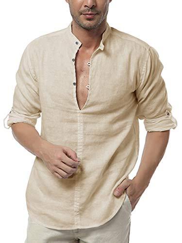 Pxmoda Herren Hemd Henley Leinenhemd Roll-up Sleeve & Kurzarm Freizeithemd Casual Sommer Men Shirts M B - Beige