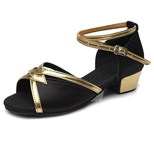 Hipposeus donna & bambine ballroom scarpe da ballo/sala da ballo scarpe/scarpe da ballo latino standard di raso,it206,nero,eu 41