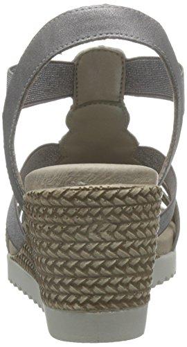Remonte Wedge Elasticated Strap Sandal Argento