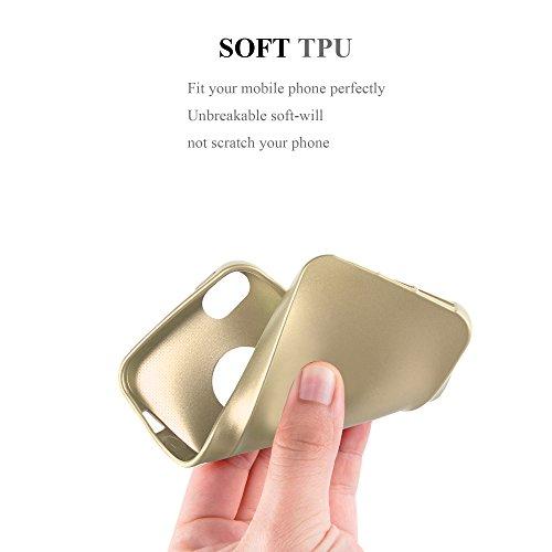 Cadorabo - >               Apple iPhone 5 / 5S               < TPU Ultra Slim matte Metallic Silikon Hülle - Case Cover Schutz-Hülle in METALLIC-ROT METALLIC-GOLD