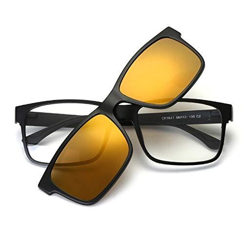 LKVNHP Neue Art UndWeise DerQualitäts -Klipp Auf Polarisierten Sonnenbrillen Männer Frauen Magnetic -Sonnenbrillen Man Driving -Glas -Rahmen Verspiegelten GläsernGold -