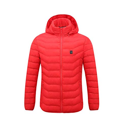 Falliback Elektrische Upgrade Pure Electric Beheizte Weste Wintersport Heizweste mit DREI Temperaturregelung Leichtes Intelligente wiederaufladbare Cotton Cloths für Damen Herren Rot XL