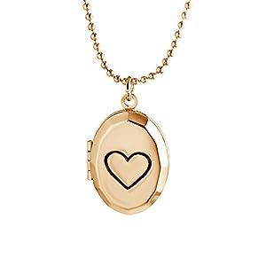Dunbasi Foto Medaillon zum öffnen Gravur Herz Photo Bilder Amulett Anhänger mit Kette Halskette für Damen/Mädchen