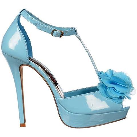 Onlineshoe señoras Mujeres T Bar Peep Toe Stiletto - detalle de la flor - azul en colores pastel