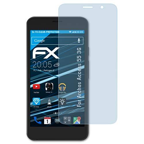 atFolix Schutzfolie kompatibel mit Archos Access 55 3G Folie, ultraklare FX Bildschirmschutzfolie (3X)