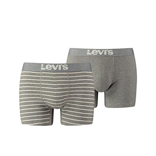 Levi's Levis 200SF Vintage Stripe 0312 Boxer Brief, Pantalones para Hombre, Gris (Middle Grey Melange 758), (Talla del fabricante: Large)(Pack de 2)