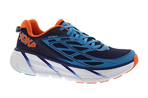 Hoka One One Clifton 3, Scarpe Running Uomo, Multicolore (Medieval Blue / Red Orange), 42 2/3 EU