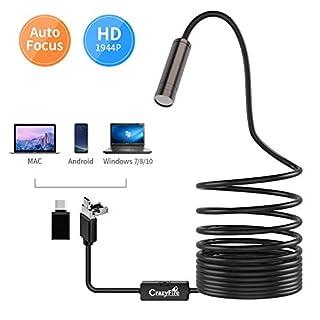 CrazyFire Autofokus Inspektionskamera,USB Endoskop,5.0 Megapixel 1944P HD Endoskopkamera,2 in 1 USB/Micro USB Sanitär Schlange Endoskop mit Einstellbare LEDs für MAC Android(Kein IOS),Windows-5M