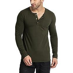 Tinted Men's Solid Slim fit T-Shirt (TJ425-BGREEN-L_Bottle Green_Large)