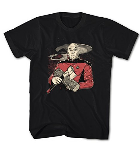 Herren T-Shirt Captain Picard im Nexus Star Enterprise Trek Schwarz