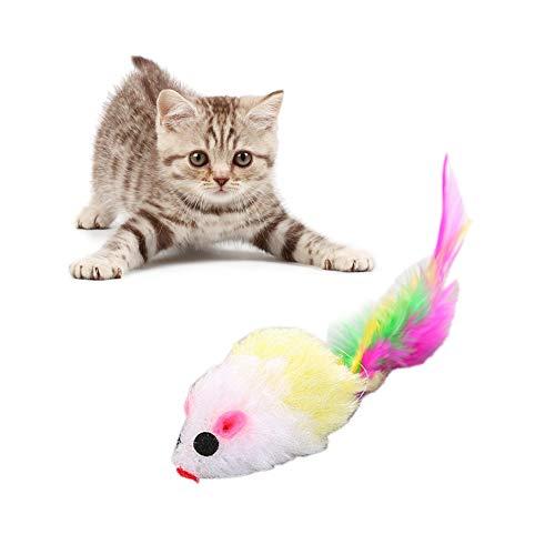 Duk3ichton Katzenspielzeug Plüsch Haustier Katze Kätzchen Maus Feder Biss Kauen Fangjagd Interaktives Spielzeug Geschenk Zufällige Farbe