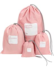 FUBARBAR 4 Set Beam Port Drawstring Waterproof Storage Bags,Travel Storage Waterproof Nylon Drawstring Dry Bag (Pink)