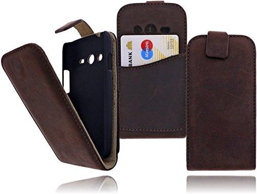 DeVills® Premium Echt Leder Flip Case Tasche für das Samsung Galaxy Ace 4 Style (SM-G310) mit EC-Kreditkartenfach, SIM und SD Kartenfach, Innen wie Außen aus echtem Leder mit Magnetverschluss in trendigem Vintage Used Look in crazy dunkel braun / crazy dark brown