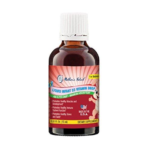 Vitamina D3 para bebé de Mother's Select, gotas líquidas de D3 de 400 UI. Frasco de 25 ml (0,08 fl.oz), 56 dosis, D3 para bebé para reforzar la salud de los huesos y el sistema inmunológico, vegano, frasco gotero especial para medir y añadir fácilmente, s