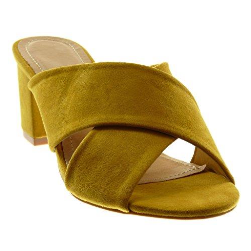 Angkorly Chaussure Mode Sandale Mule Slip-On Femme Lanière Talon Haut Bloc 7 cm Moutarde