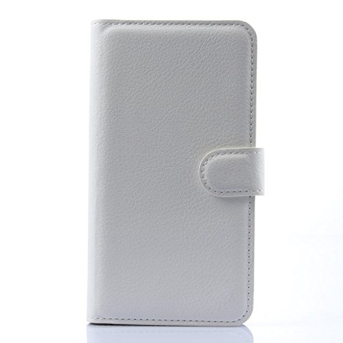 Tasche für Meizu MX4 Pro (5.5zoll) Hülle, Ycloud PU Ledertasche Flip Cover Wallet Case Handyhülle mit Stand Function Credit Card Slots Bookstyle Purse Design weiß